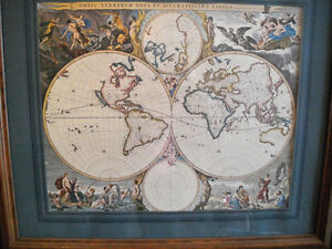 Replica of Antique Map of the World poster (Vintage, Antiques) West Island Greater Montréal image 1