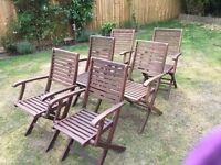 6 solid wood folding garden chairs