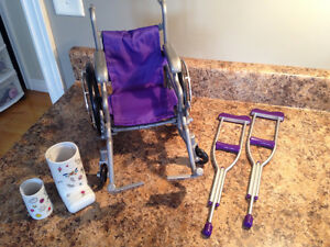 American Girl Doll Wheelchair, Crutches and Casts