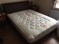 Leather effect bed and sprung memory foam mattress