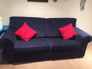Blue suede Couch-Pull out bed