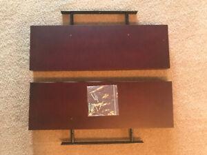 2 brown floating shelves