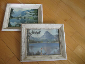 TWO MATCHING OLD VINTAGE PICTURESQUE OUTDOOR WALL PRINTS