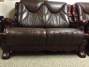 Real Leather Love Seat & Chair