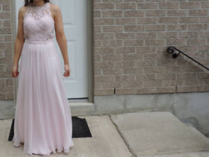 Prom Dress, Backless, light pink sequins, floor length gown