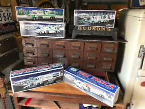 5 HESS TOY FIRE TRUCK AND TOY TRUCK + HELICOPTER & RACE CARS