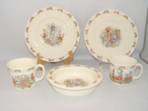 Vintage 5 Pcs Bunnykins Dish Lot Royal Doulton Fine Bone China