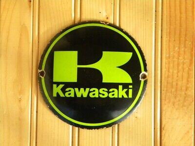 "VINTAGE KAWASAKI PORCELAIN SIGN ~4-3/4"" MOTORCYCLE KX ER-6 VULCAN KLX NINJA ZXR"