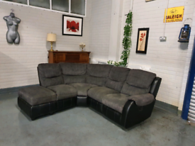 Nice Grey and black recliner corner sofa + free delivery