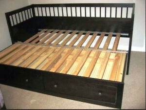 IKEA Hemnes Daybed Frame with 2 Drawers - Black-Brown