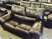 As new Italian leather 3 and 2 sofas