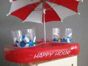 Another man cave item floating bar with glasses and umbrella 15