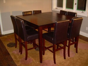 """Dining room 3' tall table w/ extension set 8 chairs 4'5"""" square"""