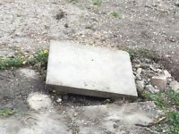 45cm x 45cm grey concrete patio slabs