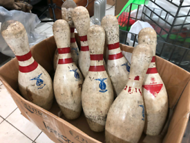 8 Vintage American AMR Wooden 10 Pin Bowling Pins