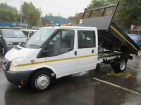 2014 63 FORD TRANSIT 2.2 350, D/CAB 6 SEATER, SWB T/WHEEL TIPPER, 1 STOP ALLOY B