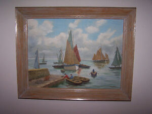 L@@K...Original Painting BOATS LAKE Off The Coast Of Brittany