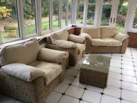 Wicker conservatory furniture suite sofa