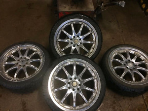 Great 17 inch chrome rims and solid low pro tires