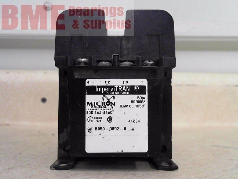 IMPERVITRAN MICRON CONTROL TRANSFORMER B050-0892-8 50VA 230/460V-120V 50/60HZ
