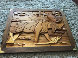 One of a kind Handcrafted Moose Wood Picture and Frame