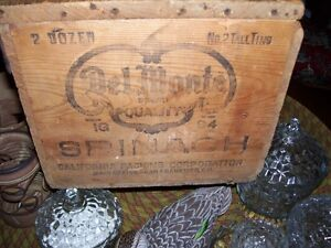 Vintage Del Monte California Spinach Wood Shipping Crate Box