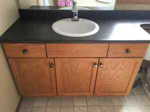 Bathroom Vanity and counter - oak wood - sink/faucet too!