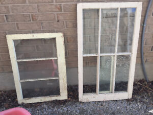 Window Frame with Glass 6 Pane Antique Old Art Wood Latches Hang