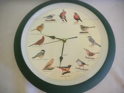 Singing BIRDS Quartz Wall Clock Battery Operated GREEN Frame 13