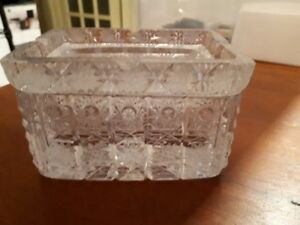 Vintage crystal cigarette box with ashtray lid