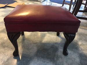 Vintage Footstool with Red Leather Top