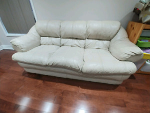 Genuine leather sofa and love seat