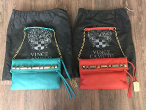Two (2) Vince Camuto Genuine Leather Tote Clutch Purses