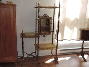 Antique Brass & Marble Planter/ Shelves with Mirror