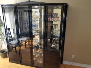 Black Lacquer table & chair set with matching cabinet