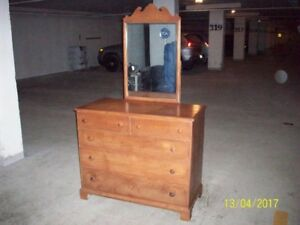 vintage birtch dresser with mirror,42 inches long,36 high20 deep