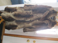 FOR SALE: Lady's real raccoon fur coat ( size 12) & matching hat