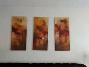 Abstract 3 Canvas Wall Art Used For Home Staging