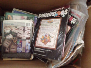 Huge Lot Counted / Stamped Cross Stitch Kits Pattern Books Etc.