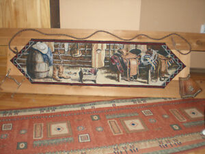"""Outside the barn"" tapestry on wood frame"