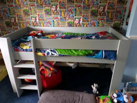 Kids mid sleeper bed with mattress