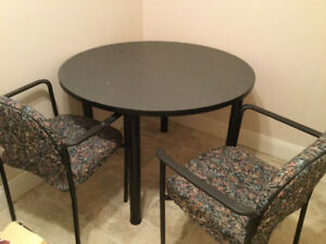 Corner office table and two chairs
