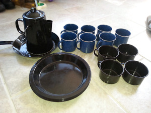 Tin camping cups, bowls, pan, plates and kettle