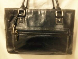 Lrg Nearly New Black Leather AuthenticFossil  Shoulder/Tote Bag