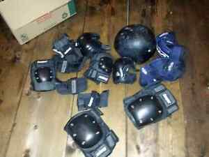 Helmet and elbow and knee pads wrist guards