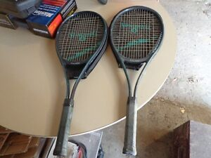 2 spalding tennis racquets and covers