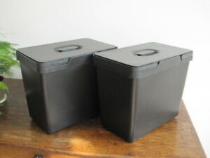 2 IKEA Variera Black 6 Gallon Recycling Bins and Lids