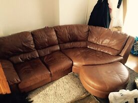 High quality DFS brown leather sofa with foot stool!