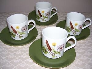 Johnson Brothers Cups and Saucers - Cattail design