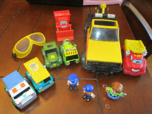 Construction Trucks, foam pieces and car mat